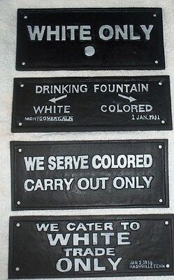 Lot Of 4 Cast Iron Segregation Signs White Only, Fountains White Trade Carry Out