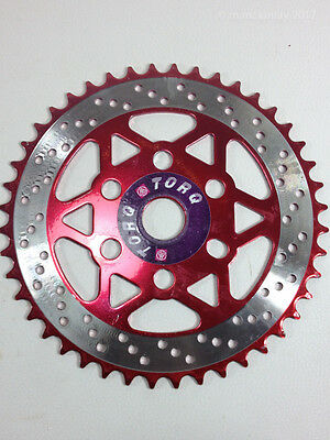 TORQ RED Steel Chain Ring BMX 1pc 3pc Mid School Front Gear Sprocket NOS 44T