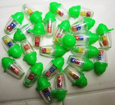 Vintage Green Plastic Dice Shaker Charms Lot of 24,Gumball,Cracker Jack