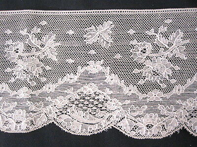 """ANTIQUE VINTAGE FRENCH LACE 3 1/2"""" x 58"""" HAND EMBELLISHED"""