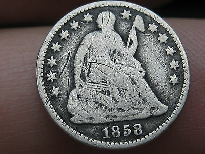 1858 O Seated Liberty Half Dime- VG Obverse Details