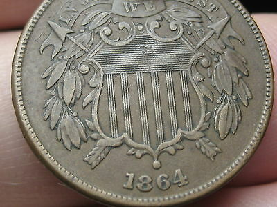 1864 Two 2 Cent Piece- Large Motto, XF Details, WE Visible!