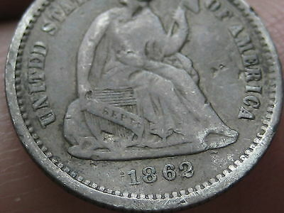 1862 Seated Liberty Half Dime- Fine/VF Details