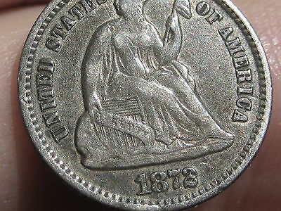1872 Seated Liberty Half Dime, VF/XF Details