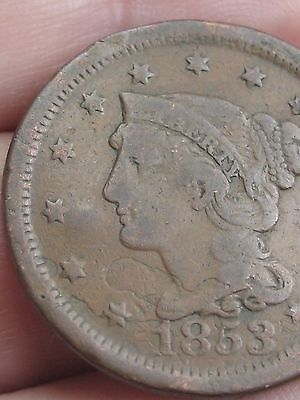1853 Braided Hair Large Cent Penny, Fine/VF Details