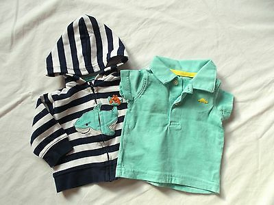 Carter's Baby Boy 2pc Outfit Shirt & Hoodie Size 3M EUC