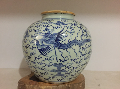 Chinese Old Blue and White Phoenix Pattern Porcelain Tank
