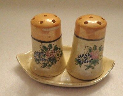 Vintage  Salt & Pepper Shakers - Flower Pattern With Tray - Ceramic