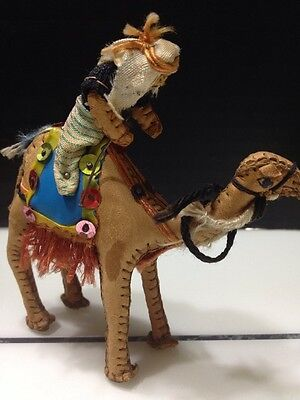 VTG Man Riding Camel Figurine Leather Arabic Egypt Middle East Hand Made