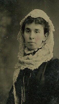 Tintype, Vintage Photo,  Young Woman in Shawl