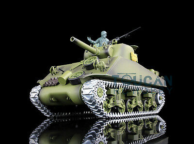 2.4Ghz HengLong 1/16 USA M4A3 Sherman RTR RC Tank Model Upgraded Metal Ver 3898