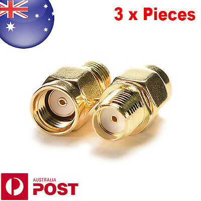 Pack of 3 RP SMA Male to SMA Female Jack Straight RF Coax Connector - 0078-3