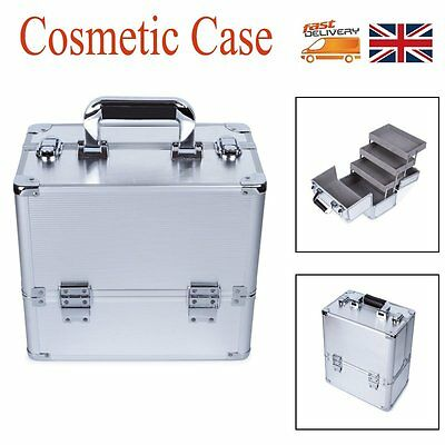Extra Large Space Alu Beauty Make Up Nail Tech Cosmetic Box Vanity Case Silver
