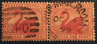 1d WA Red Swan Pair Australia Stamp Used Cancel GPO PMK Ship Mailroom