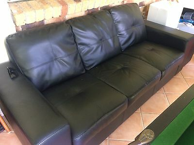 Black Two Seater Leather Couch