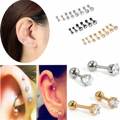 2pc CZ Prong Tragus Cartilage Piercing Stud Earring Ear Ring Stainless Steel