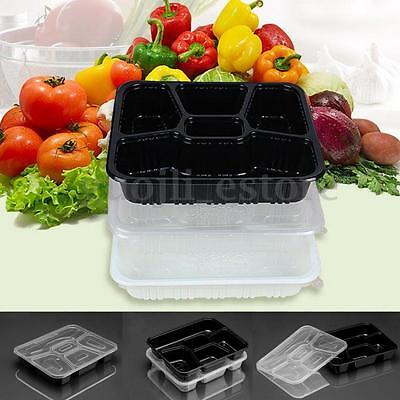 10X 5 Compartments Meal Prep Containers Food Storage Microwavable Lids Lunch Box