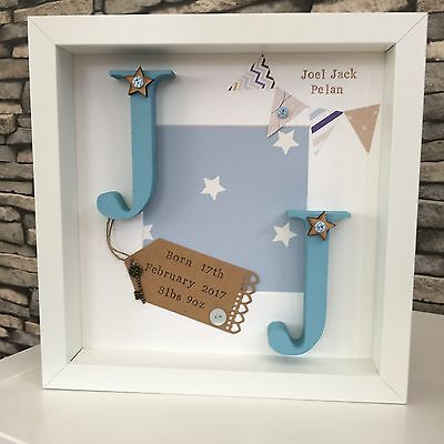 💙 Personalised New Baby, Birth, Christening, Initials Name Frame Gift