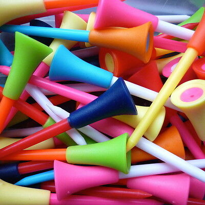 10 X 83Mm  Rubber Topped  Plastic Golf Tees  Mixed Colours  Bn Free U.k. P&p