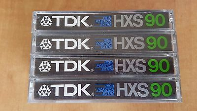 4 x TDK HXS90 Audio Cassettes With Index Cards