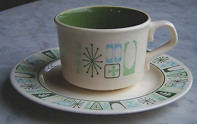 TAYLOR SMITH Cathay COFFEE/TEA CUP & SAUCER~UNUSED Atomic Starburst TAYLORSTONE