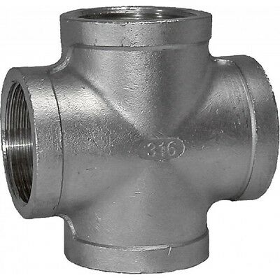 """4"""" BSP Cross 316 Stainless Steel 150LB Pipe Fitting"""