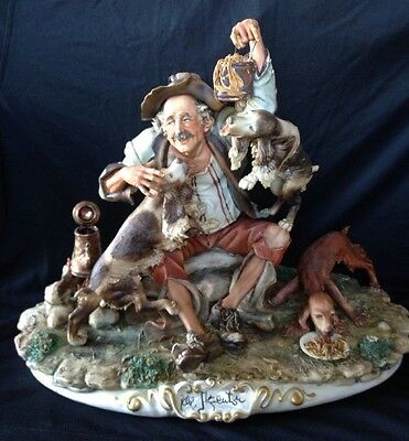 CAPODIMONTE 'Old Man With Dogs' by Enzo Arzenton Laurenz Classic Sulpture Italy