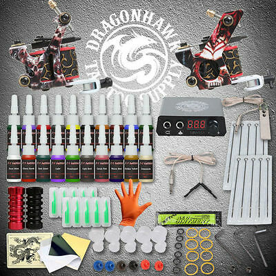 Beginner Tattoo Kits 2 Guns Machines 20 Ink Sets Power Supply Needle Pedal Tips