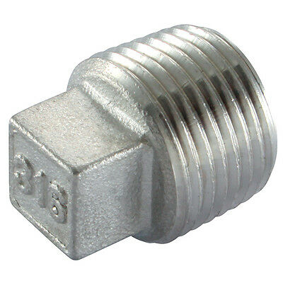 """1"""" BSP Square Head Plug 316 Stainless Steel 150LB Pipe Fitting"""