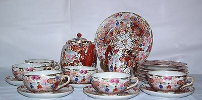 21 piece tea set with teapot Old Japanese hand painted eggshell porcelain