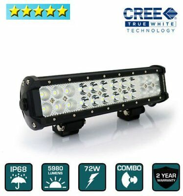 "12"" 72W Cree (Flood & Spot) 2in1 Combo LED Light Bar Work Lamp OffRoad Driving V"