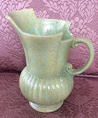 Lovely Vintage Crown Devon England Art Deco Jug/Vase/Ewer Green Speckled Glaze