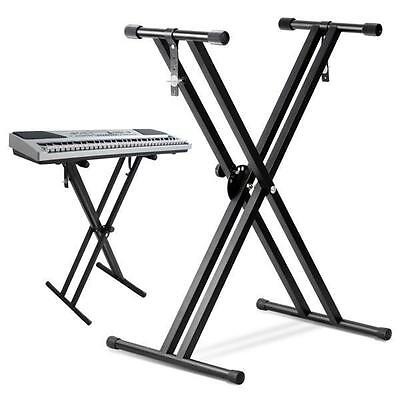 Heavy Duty Folding Double X Frame Keyboard Adjustable Stand Piano With Straps UK