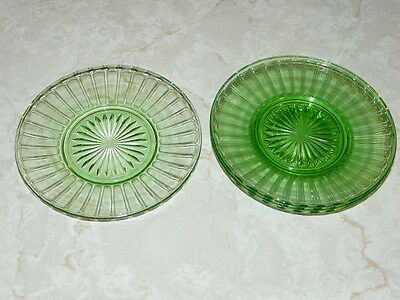 4 Vintage Green Depression 6''¼ diameter Plates