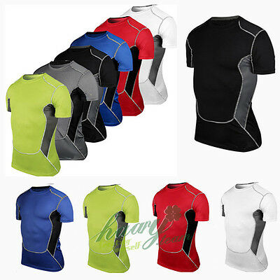 Mens Compression Gear Gym Baselayer Short Sleeve T-Shirt Athletic Tight Tops