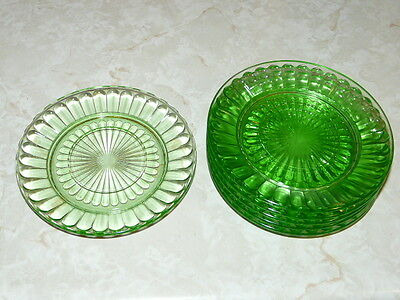 6 Vintage Green Depression 6''¼ diameter Plates