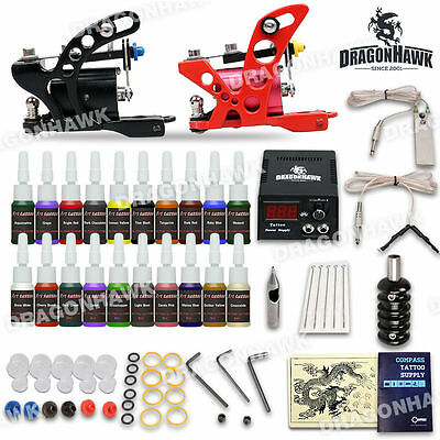Beginner Tattoo Starter 2 Rotary Guns Machines Kits 20Ink Set Power Needle Pedal