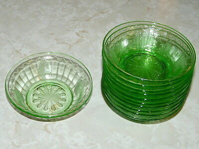 11 Vintage Green Depression 4''7/16 diameter Dessert cups - Fruit Bowls