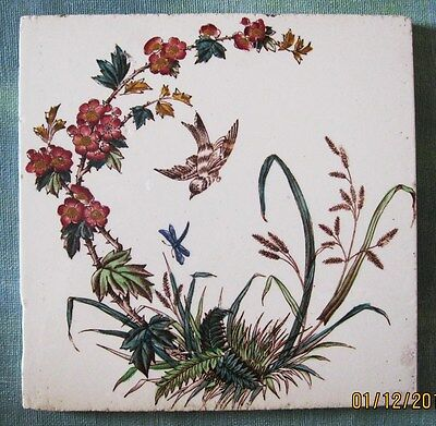 Antique Tile by T.G & F Booth, Bird, Dragonfly and Meadow Flowers