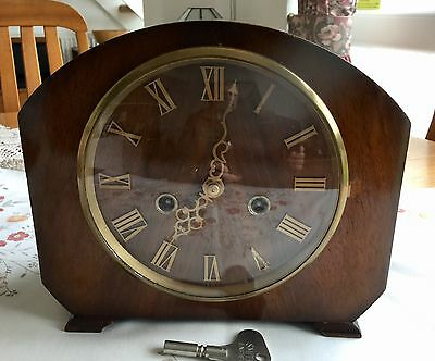 Vintage Smiths Enfield Striking Mantel Clock - Working Order With Key