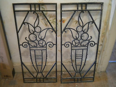 Vintage Art Deco cast iron Door grills French 1930s Matching pair