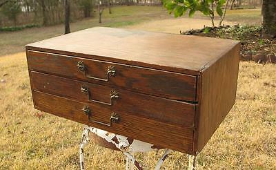Antique Small 3 Drawer Oak Cabinet Watchmaker Sewing Printer Typeset Tray