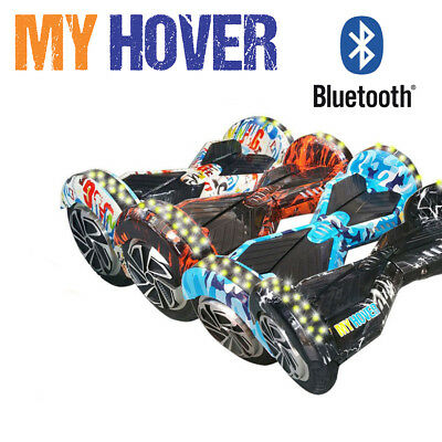 "Hoverboard 8"" Luci Led E Bluetooth Speaker Self Balance Smart Graffiti Overboard"