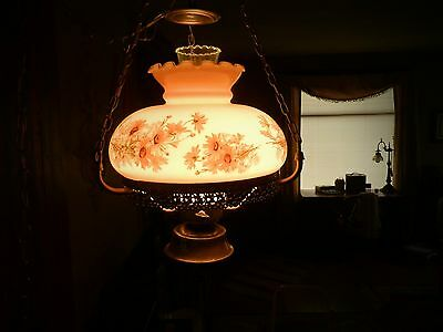 Vintage Painted Milk Glass Hanging 3 Chain Ceiling Hurricane 3  Light swag Lamp