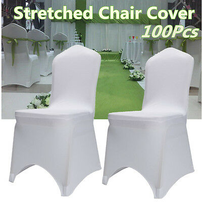 10XWhite Chair Covers Spandex Lycra Banquet Wedding PartyDecoration Arched Front