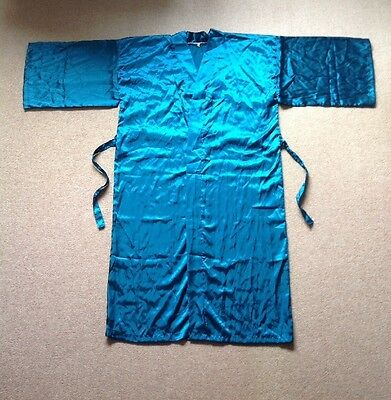 New Teal Satin Feel Robe Kimono Dressing Gown Gift