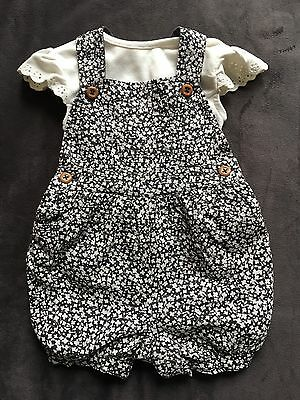Baby Girls Romper Dungaree Set 3-6 Months-New