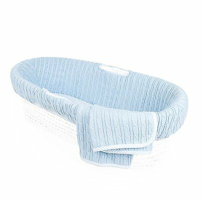 Tadpoles Cable Knit Moses Basket Bedding Only, Blue