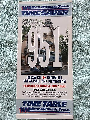 West Midlands Travel Bus Timetable Route 951 Timesaver, October 1986