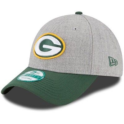 Green Bay Packers New Era 9Forty Adjustable Cap, Heather Grey/Green.